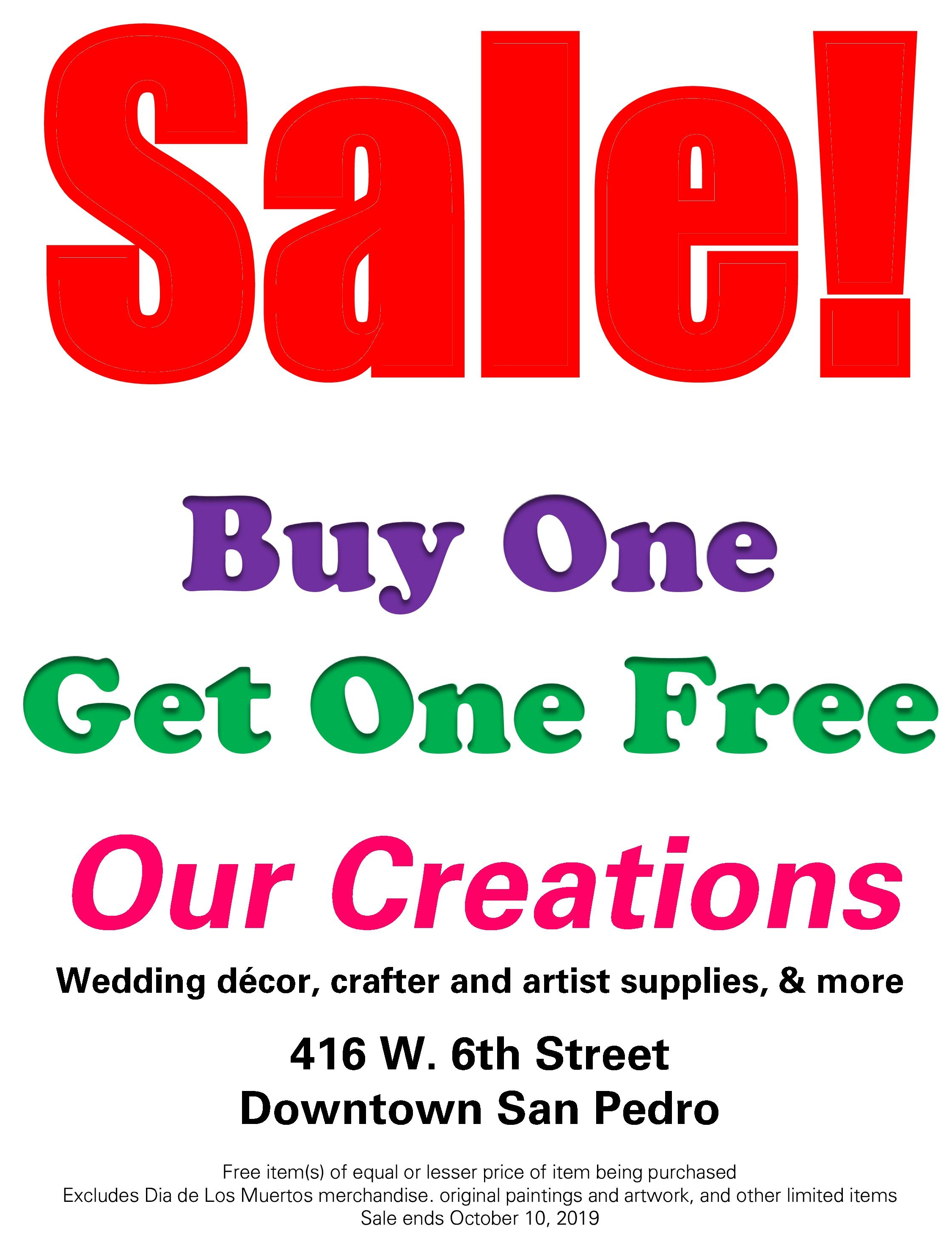 Image of Our Creations sale flyer