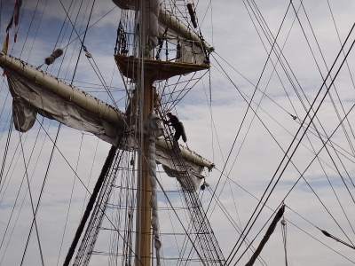 Crewman in the sails of a tall ship
