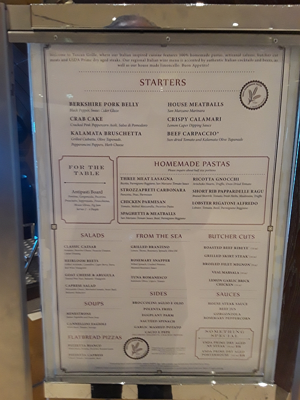 Photo of Tuscan Grill menu on board Celebrity Eclipse