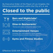 Image of card with list of mandatory business closings in City of Los Angeles