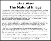 Artist's statement for John Stinson's exhibition at the San Pedro Visitor Center
